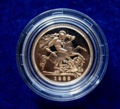 1988 Queen Elizabeth II Proof Gold Half Sovereign + Capsulated / Case COA