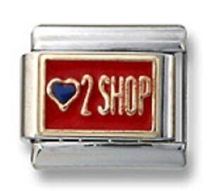 New-18k-Gold-Italian-Charm-Red-Enamel-Heart-2-Shop-9mm-Modular-Link-Bracelet