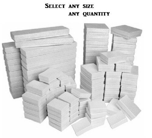 Jewelry - LOT of 20~50~100~500Pcs WHITE JEWELRY BOXES WHITE COTTON FILLED BOXES GIFT BOXES