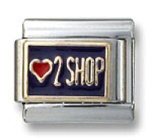 New-18k-Gold-Italian-Charm-Purple-Enamel-Heart-2-Shop-9mm-Modular-Link-Bracelet