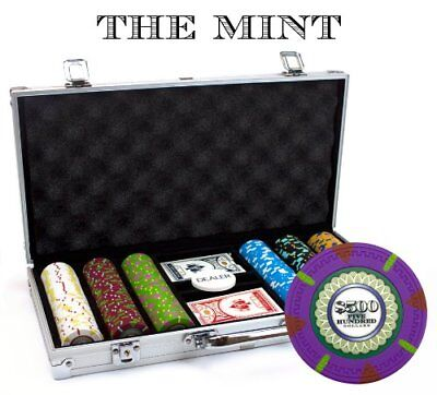 300ct. The Mint Clay Composite 13.5g Poker Chip Set in Aluminum Metal Carry Case 300 Clay Composite Chips