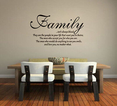 Family Isnt Always Blood Wall Decal Saying Home Decor