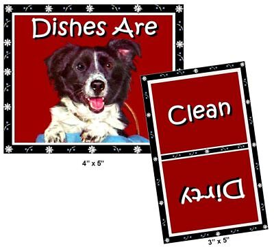 DOG DISHWASHER MAGNET (Border Collie) - Clean/Dirty *Ship FREE