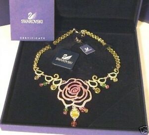 EXTREMELY RARE~SWAROVSKI~DISNEY~CRYSTAL ROSE NECKLACE~BELLE~NIB