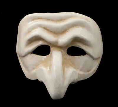 Mask from Venice Polichinelle White Antique Paper Mache Carnival Prom 1826 VG5