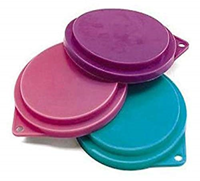 Pet Food Can Covers Set of 3 Assorted Colors 3-1/2 inches Dogs Cats Pets Lids