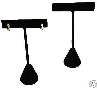 2 T-bar Earring Display Stands Black Velvet Showcase Displays 4 34 Tall