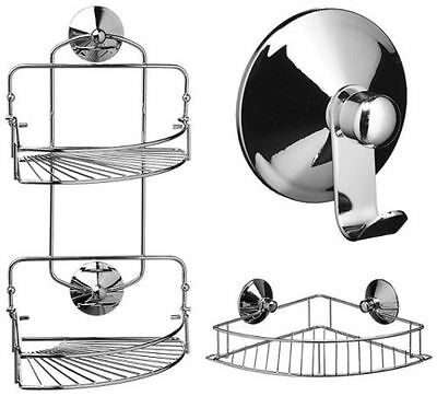 Chrome Suction Fixing Corner Caddy Folding Bath Rack 3 Different Styles - Chrome Bath Caddy