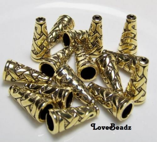 16 Gold Metal Bead Caps-Cones Lot-17x8mm-Jewelry Making Supplies Lot