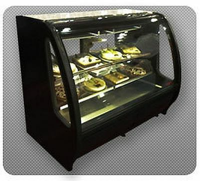 New Black Curved Glass Deli Bakery Display Case Refrigerated Led Casters Tor Rey