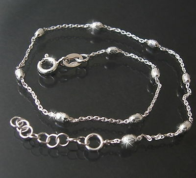 Fußkette 925 Silber 23-26cm Ankerkette 1,2mm Perlen facett. Schmuck Fuß 14512-26
