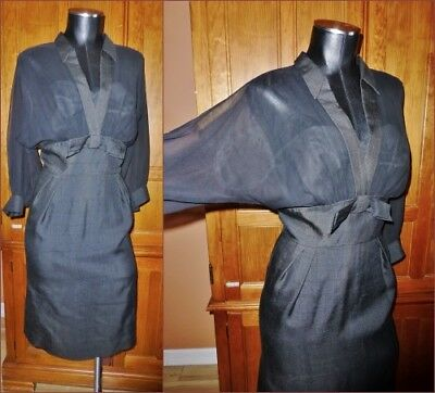 VTG 50s 60s SEMONT Black Sheer Illusion Silk Chiffon Pin Up Cocktail Party DRESS - 50 Themed Party Clothes