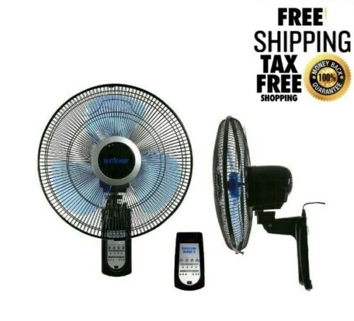 Wall Mount Fan Oscillating 16 Inch 3 Speed Indoor Outdoor With Remote Control