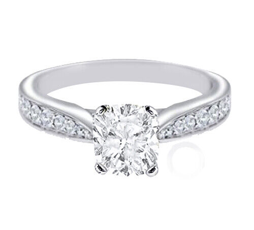 GIA Certified Diamond Engagement Ring Platinum 1.05 Carat total Cushion Cut