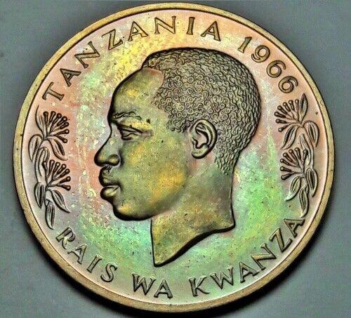 1966 TANZANIA 20 SENTI PROOF BU COLOR CHOICE WONDERFUL TONED UNC GEM (DR)