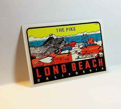 """Long Beach, """"The Pike"""" Vintage Style Travel Decal, Vinyl Sticker, luggage label"""