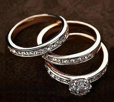 18K White Rose Gold Filled Inlay SWAROVSKI Crystal Wedding Engagement Ring Set