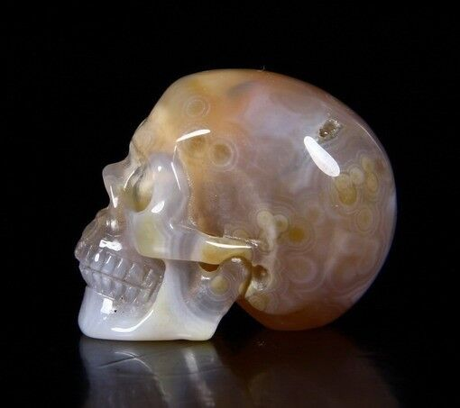 """1.2"""" AGATE Carved Crystal Skull, Realistic, Crystal Healing"""