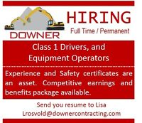 Class One Drivers and Heavy Equipment Opreators