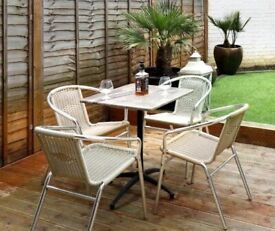 John Lewis & Partners Patio Furniture Bistro Garden 4-Seat Dining Table & Chairs Set