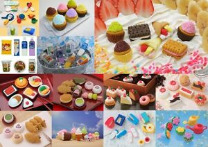 Iwako-Japanese-Novelty-Rubber-Erasers-7pcs-Foods-Cakes-Utensils-Flowers-etc