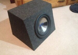 """10"""" Alpine s10 subwoofer with box."""
