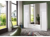 *14-DAY MONEY BACK GUARANTEE!** Trio 4 Door and 3 Door High Gloss German Wardrobe-SAME DAY DELIVERY!