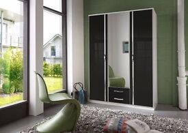 **7-DAY MONEY BACK GUARANTEE!** Trio 3 Door and 4 Door High Gloss German Wardrobe-SAME DAY DELIVERY!