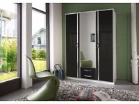 *14-DAY MONEY BACK GUARANTEE!** Trio 3 Door and 4 Door High Gloss German Wardrobe-SAME DAY DELIVERY!