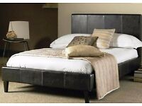 SUPER OFFER** Faux Leather Slatted Base Bed frame & type of Mattresses+same day delivery+in 2 colors