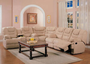 3PC Fabric Sectional with 4 Recliner Seats $1898