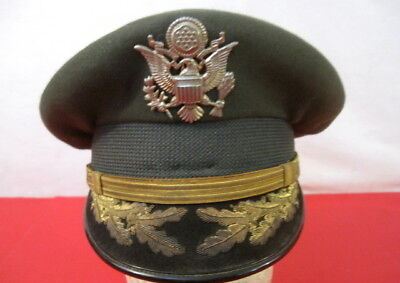(Vietnam US Army Officer's Uniform Visor Service Cap w/Oak Leaf on Brim - Size 7)