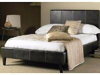 🔥FREE LONDON DELIVERY🔥🔥 ITALIAN LEATHER DOUBLE / KING BED w 9 inch DUAL-SIDED DEEP QUILT MATTRESS