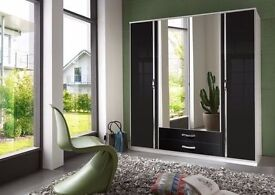 **7-DAY MONEY BACK GUARANTEE!** Trio German 4 Door and 3 Door High Gloss Wardrobe-SAME DAY DELIVERY!
