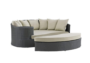 Outdoor Patio Daybed, Antique Canvas Beige