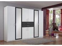 **7-DAY MONEY BACK GUARANTEE!** Large 6 Door German Wardrobe with Mirrors -SAME DAY DELIVERY!