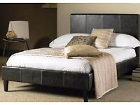 FREE & FAST DELIVERY LEATHER BED-4FT OR 4FT 6 DOUBLE SIZE FRAME -BLACK-BROWN- WITH MATTRESS