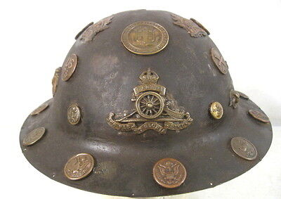 WWI US Army AEF M1917 Helmet Shell w/Customized Trench Art Buttons & Badges RARE