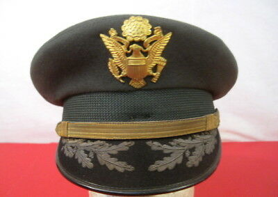 (Vietnam US Army Officer's Uniform Visor Service Cap w/Oak Leaf on Brim - 7 1/8)