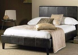 --SUPERB OFFER!! --DOUBLE AND SMALL DOUBLE LEATHER BED IN BLACK AND BROWN COLOUR WITH MATTRESS