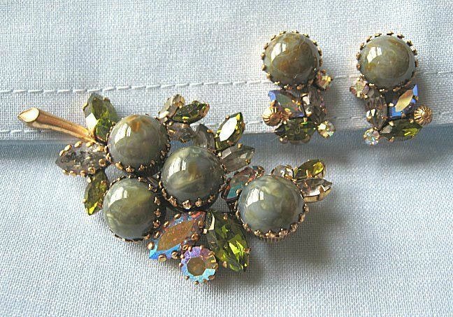 """Pin and Earrings w Aurora Rhinestones and Glass Sets   pin: 3"""""""