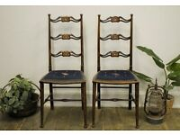 Beautiful Antique Elm Chippendale Ladder Back Parlour/ Bedroom Chairs (x2) With Mother Of Pearl