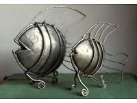 Unique Pair: Metal/Wood Crafted Fish Ornaments