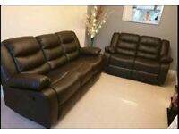 😎💥BRAND NEW ROMA 3 AND 2 SEATER BONDED LEATHER RECLINER SOFA SUITE IN BLACK & GREY COLOR