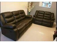 Beautiful black leather cup holder 3+2 seater sofa message for price