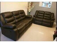 😎💥HUGE 50% OFF CHELSEA BONDED LEATHER RECLINERS WITH CUP HOLDER 3+2 S CORNER SOFA CHEAP BARGAIN