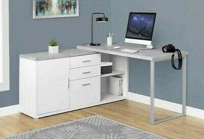White Corner Grey Cement-look Modern Contemporary Office Study Home Desk