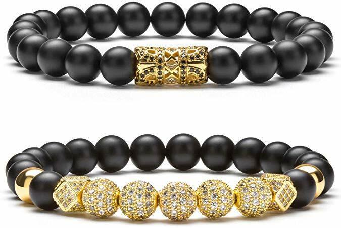 8mm Charm Beads Bracelet for Men Women Zircon Accessories Bl