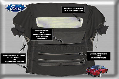 E-Z ON Ford Mustang Convertible Top & Glass Window Black Stayfast Cloth 2005-13