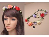 Narrow aliceband with flower / rosebud garland - JTY393